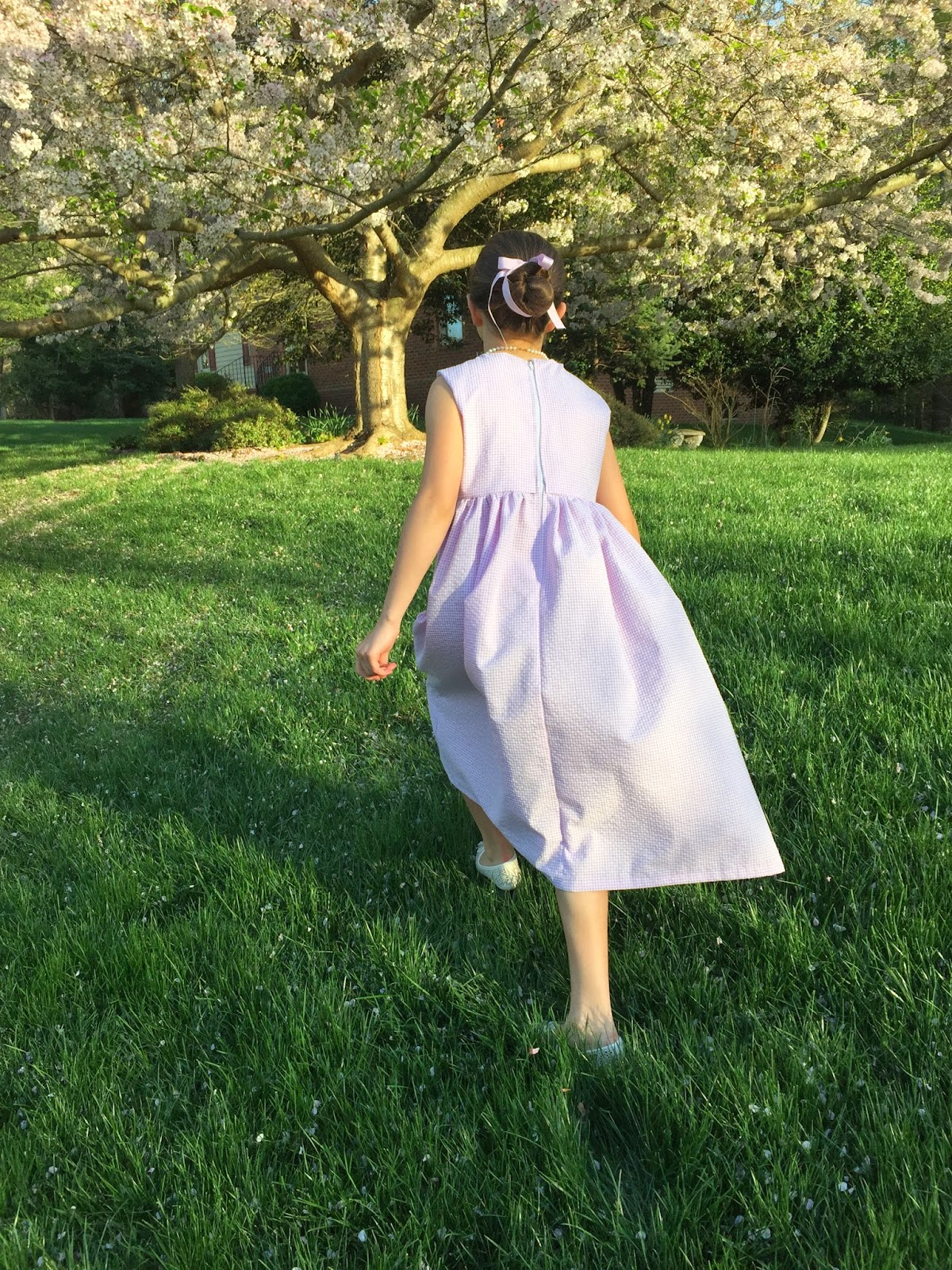 summer dress, lavender, check, seersucker, handmade, dress, children's clothes