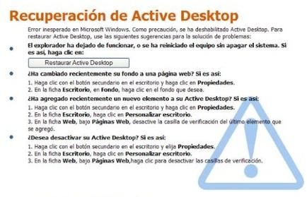 Recuperación Active Desktop