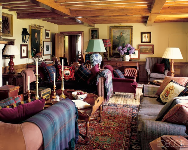 Chinoiserie chic tartan and chinoiserie for Tartan living room ideas