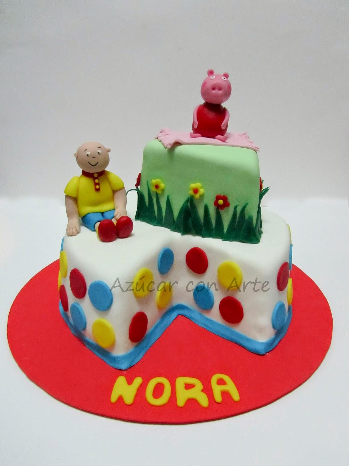 tarta caillou, tarta peppa pig, caillou cake, peppa pig cake, tarta sin gluten, gluten free cake| azucar con arte