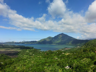 Beautiful Volcano and Crater Lake at Mount Batur Kintamani