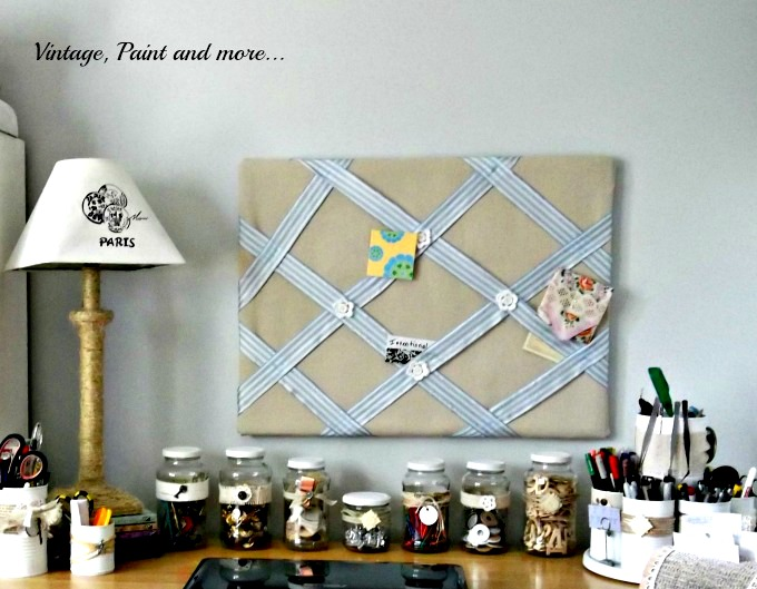 Vintage, Paint and more... bulletin board covered with drop cloths, decorative jar storage, twine wrapped lamp, embellished tin cans for organization