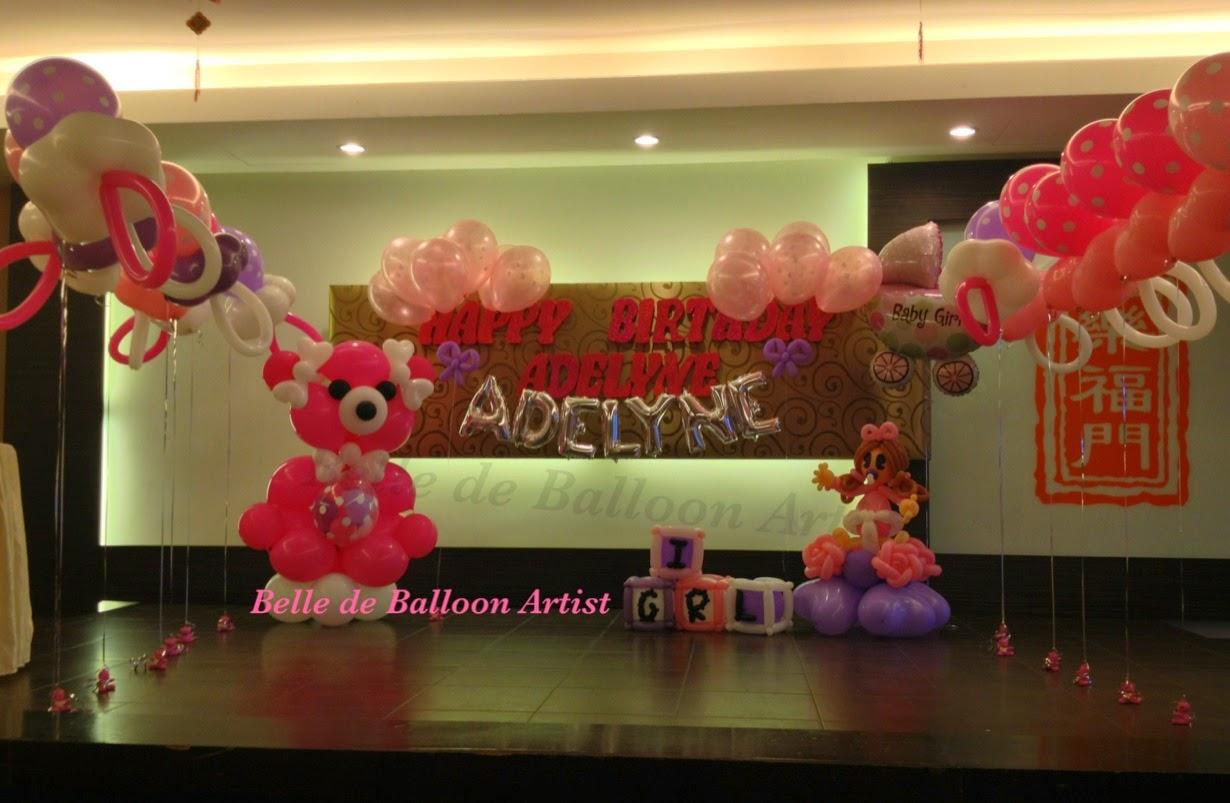 Belle de balloon artist baby shower 100 days fullmoon for Baby shower stage decoration