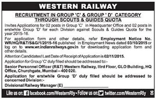 Application invited for Scouts and Guides Quota Jobs