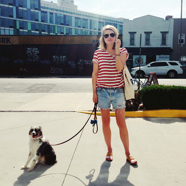 Summer in Brooklyn, Filippa K red striped t-shirt, Refind Denim cutoff shorts, Loeffler Randall straw and silver sandals, Ray-Ban Aviators, Suburban Riot canvas tote bag, Wallyface mini aussie, summer essentials