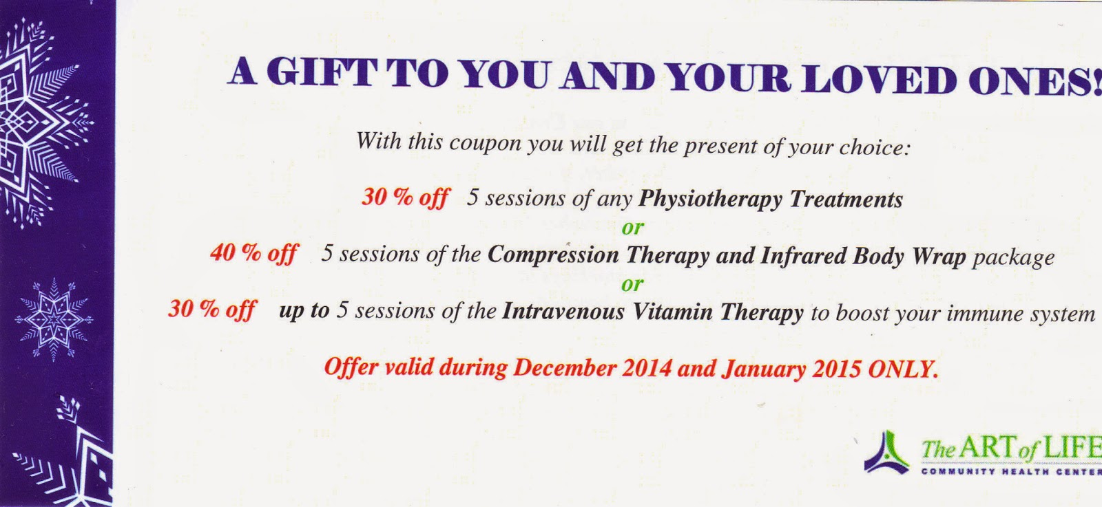 Winter Holiday Discount Coupon December 2014-January 2015: Art of Life Community Health Centre