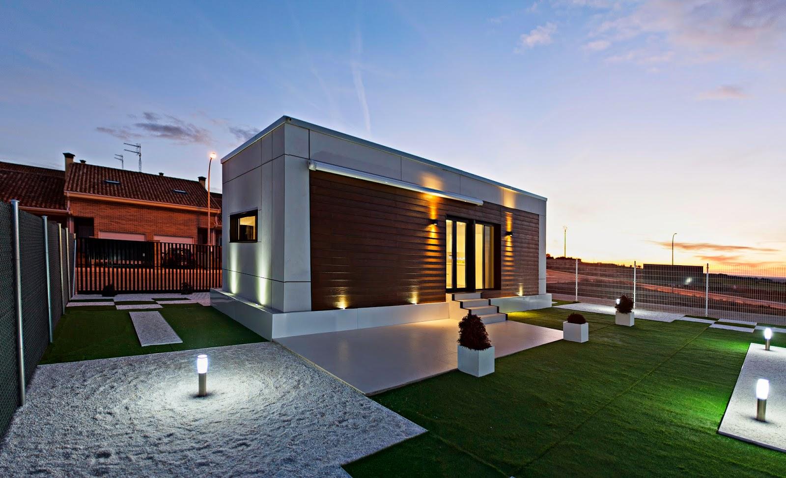 Vivienda modular modelo loft Resan vista nocturna