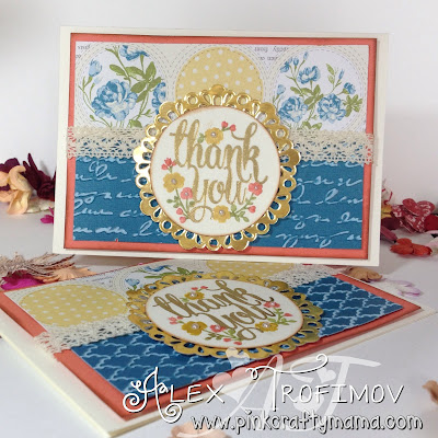 Stampin Up Thank You Card cards Whole Lot of Lovely Stamp Set tea for two dsp gold embossing