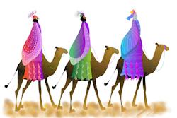 Los Tres Reyes Magos cruzando el desierto en sus 3 camellos