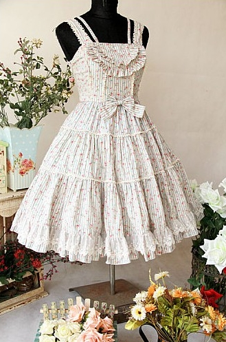 Sweet Floral Bow Rococo Lolita Dress