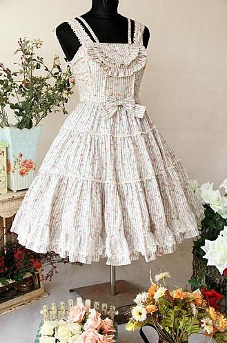 Sweet Floral Bow Rococo Lolita Dress