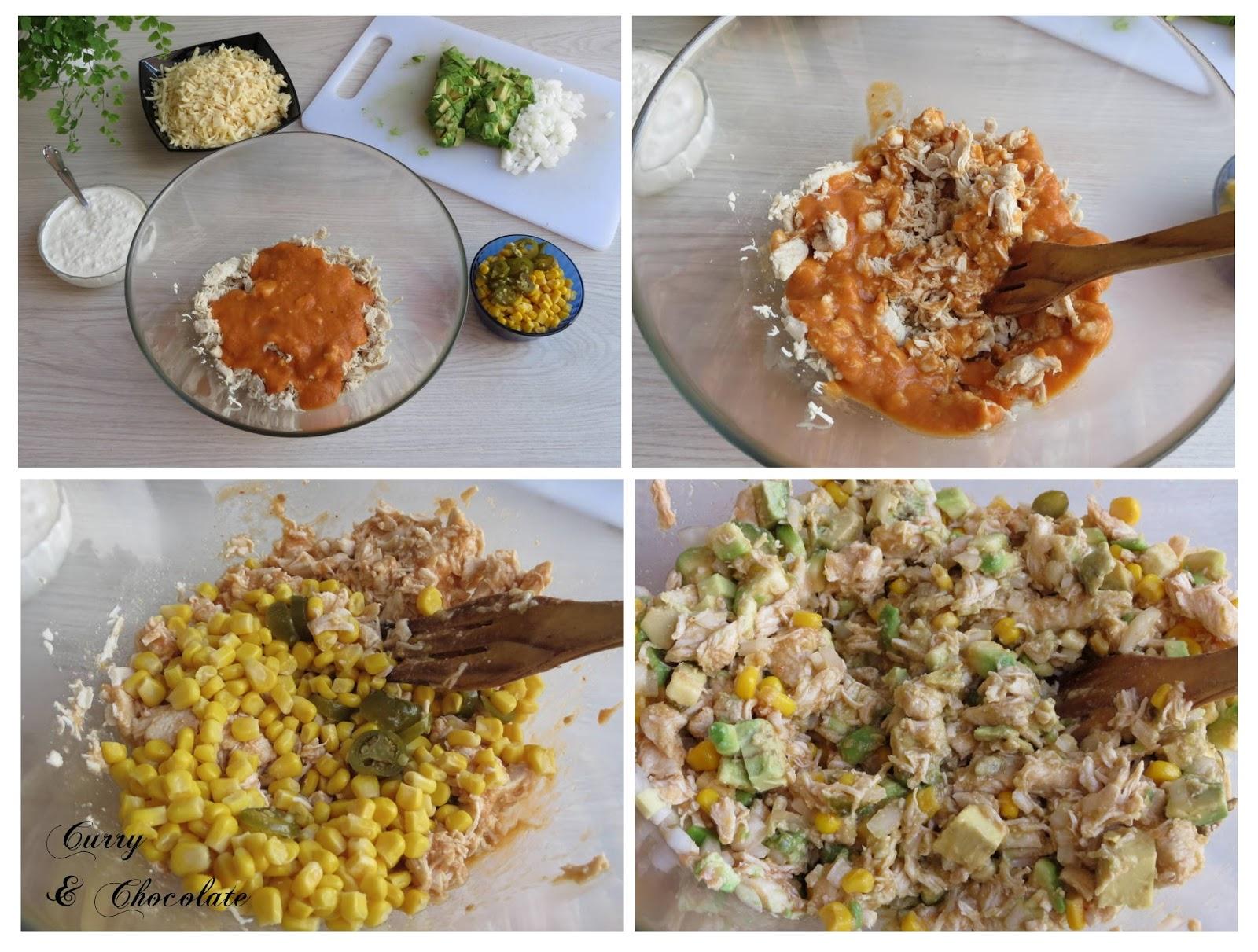 Preparando el relleno de las enchiladas