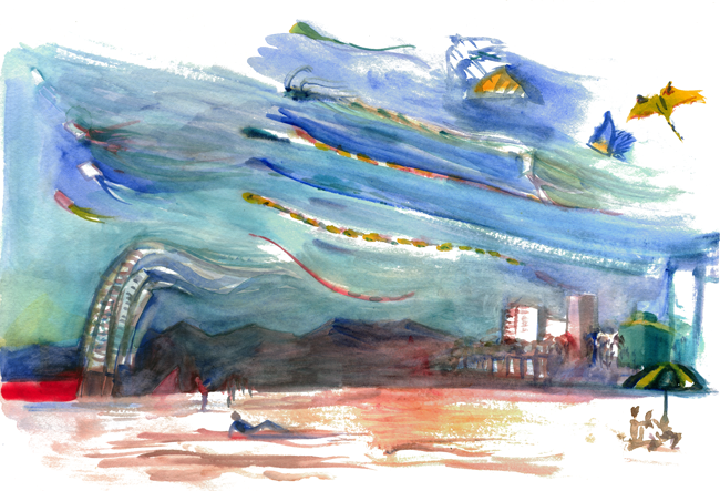 "Shiho Nakaza ""Los Angeles"" ""Santa Monica"" beach watercolor watercolour sketch painting ""plein air"" kites festival"