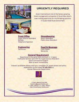 Bali Jobs at Quest Hotel Kuta Central Park