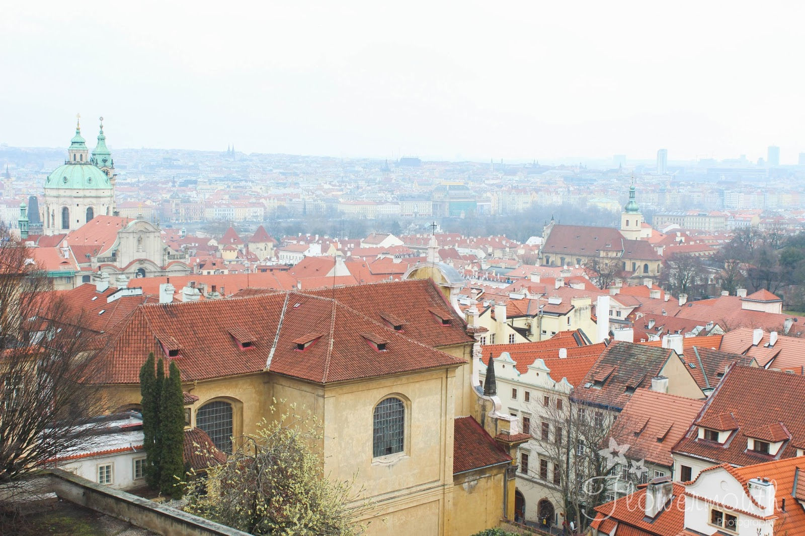 Prague city landscape from the castle complex