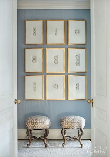 gold intaglio gallery wall