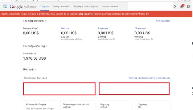 Bán tài khoản Google Adsense content chưa Pin