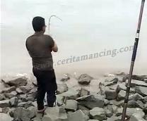 Gila Mancing Ikan Sampai Terjatuh