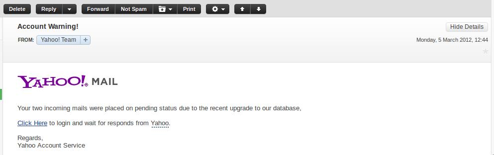MoQAs: Yahoo Mail Fake Login Page - careful