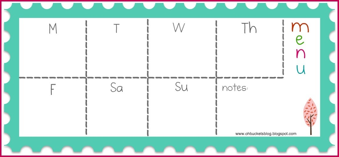 oh buckets meal planning 101 – Free Weekly Menu Templates