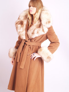 Vintage 1960's tan colored wool princess coat with fox fur collar by Saks Fifth Avenue.