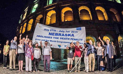 Italians celebrated Nebraska abolishing the death penalty Wednesday by lighting up the Coliseum in Rome.