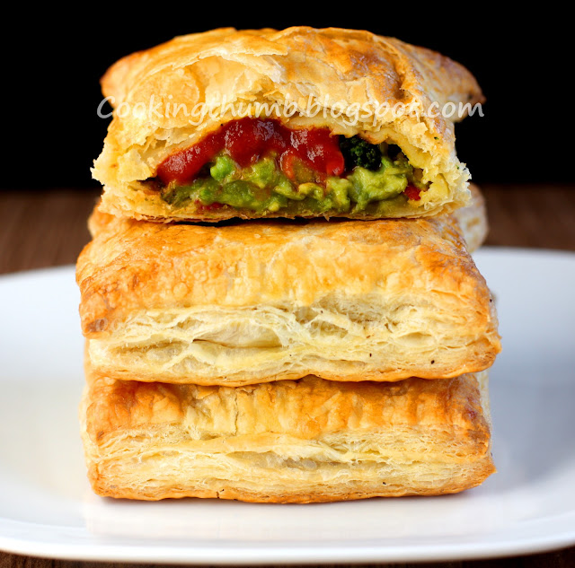 Broccoli, Cheese, Avocado, Jalapeno Stuffed Puff pastry