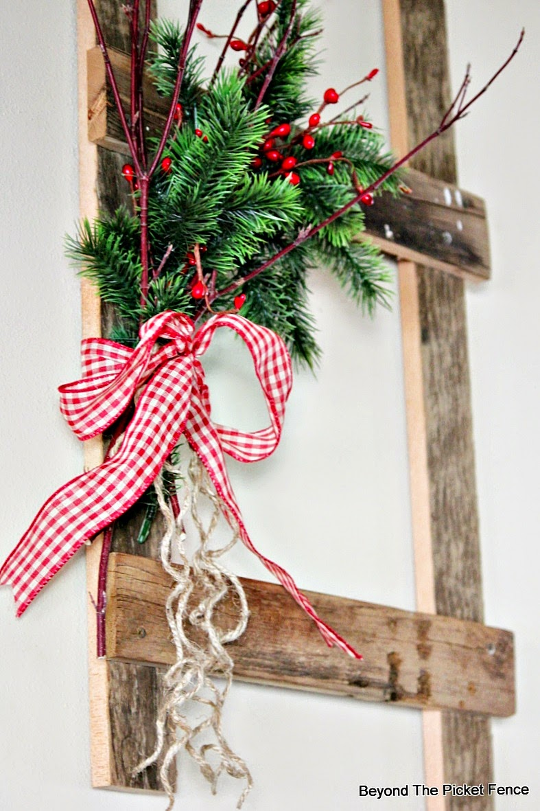 12 days of christmas day 6 ladder decor httpbec4 beyondthepicketfence - Christmas Ladder Decor