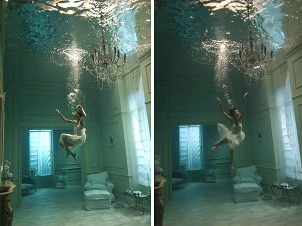 This photograph was taken during a shoot for a commercial and was part of 'Water on the Lens', an exhibition of underwater set photographs taken at Pinewood which took place at County Hall on London's Southbank in 2009.