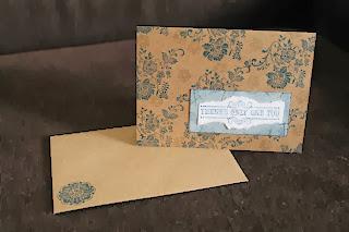 Floral greeting card navy blue kraft brown white by Handiworkin' Girls