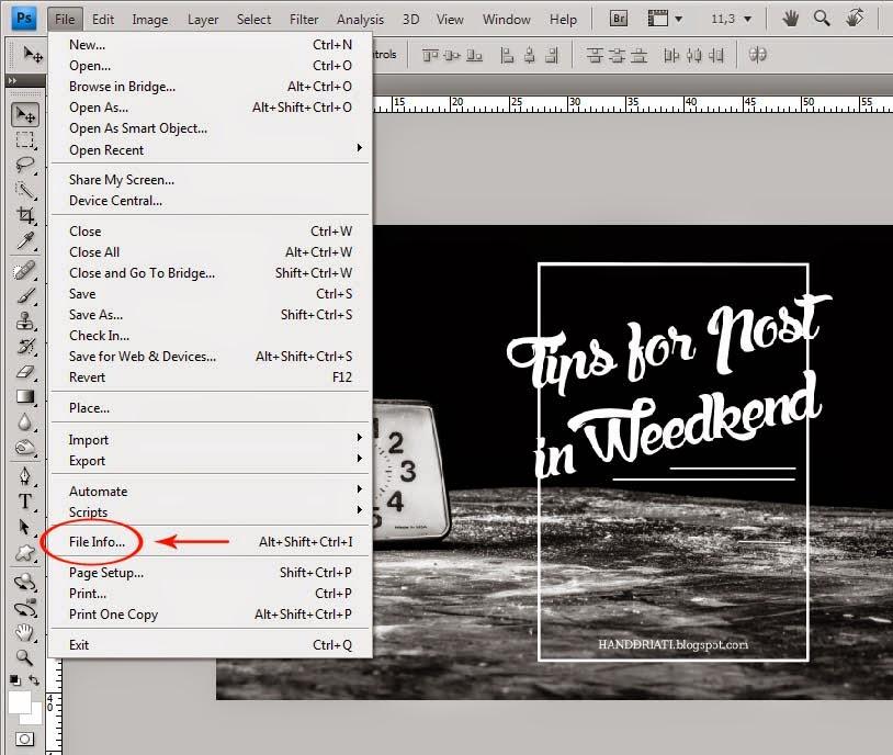 Cara Membuat Copyright Untuk Photo Memakai Adobe Photoshop_File Info