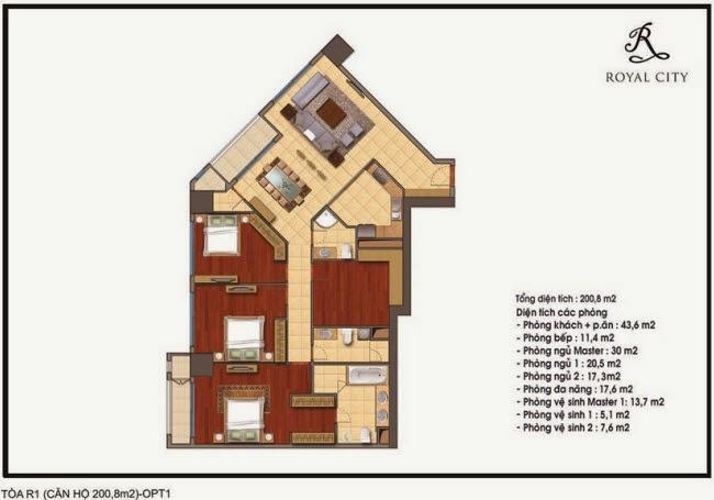 Chi tiết thiết kế căn hộ toà R1 chung cư Royal City diện tích 200.8 m2