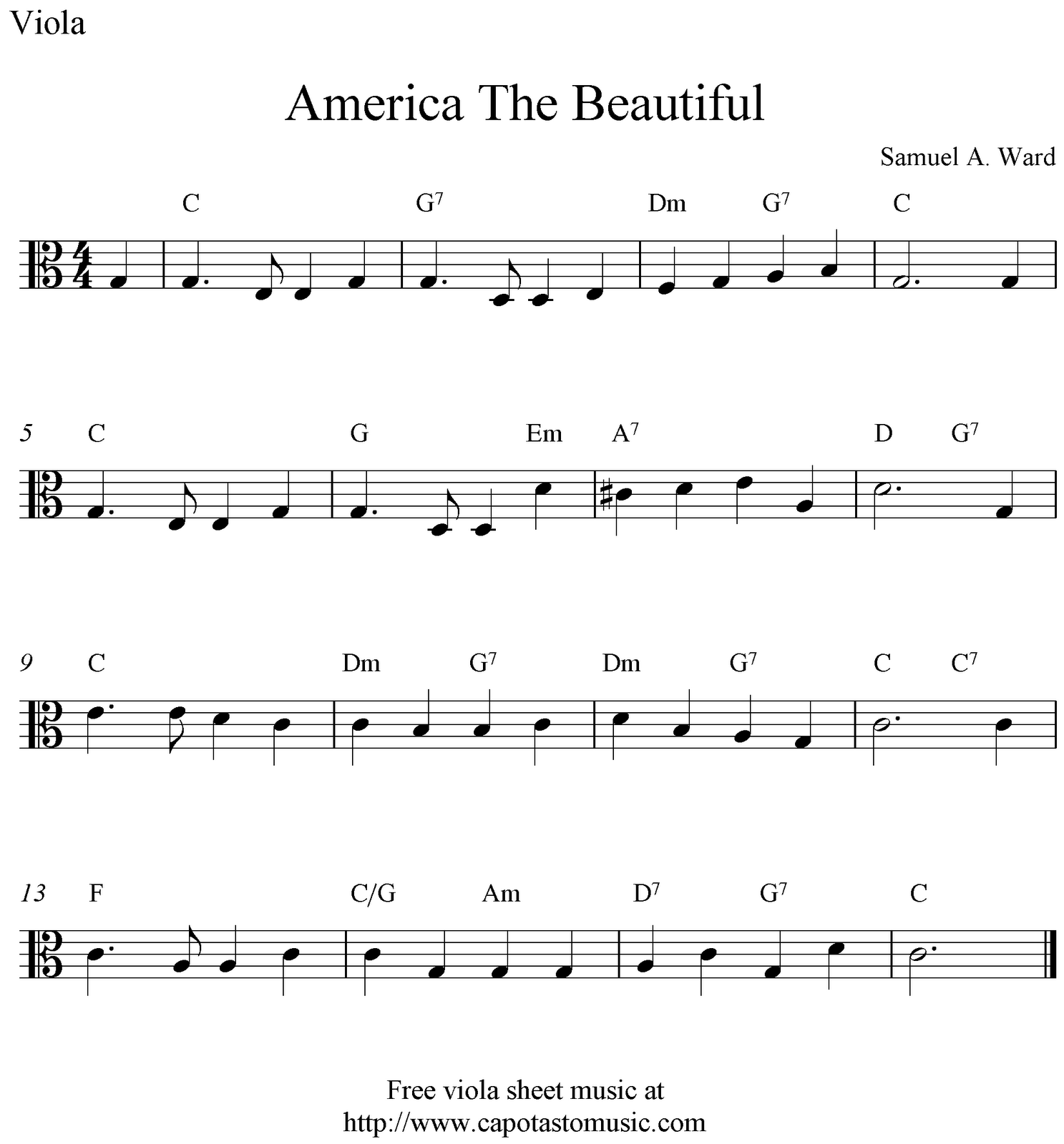 Free viola sheet music, America The Beautiful