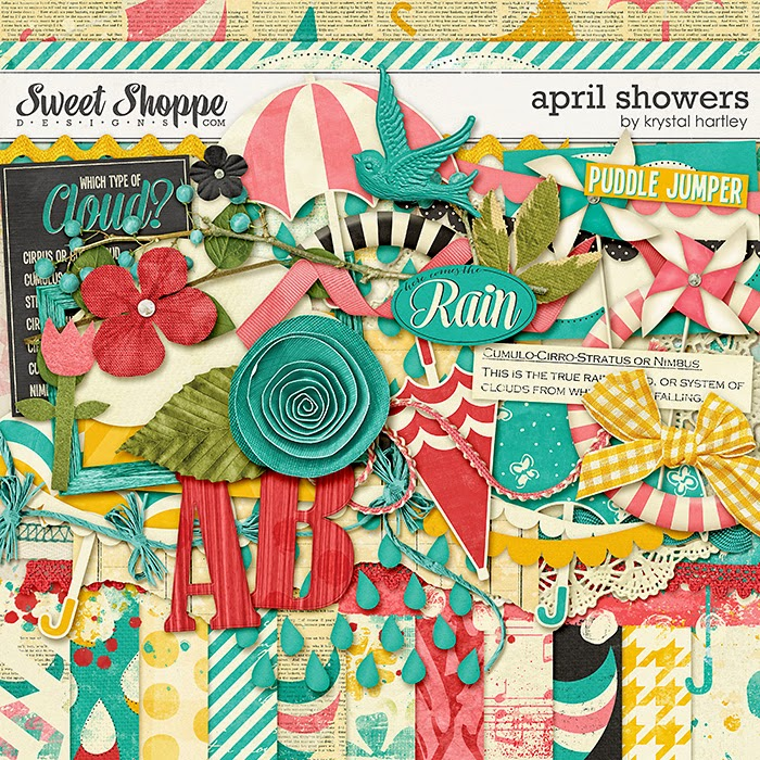 April Showers digital scrapbook kit by Krystal Hartley
