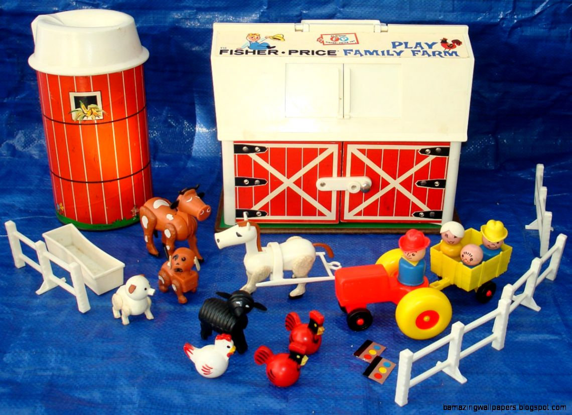 1968 FISHER PRICE TOYS PLAY FAMILY FARM 915 ANIMALS SILO BIG RED