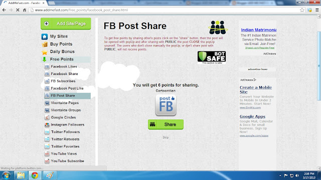 Addmefast iMacros Script Facebook Post Share