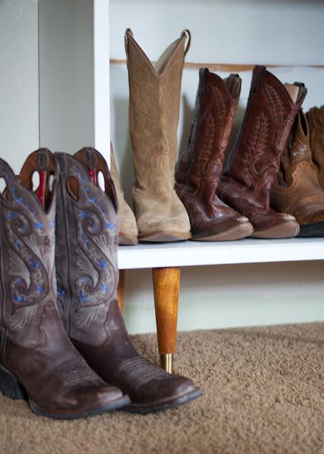 mcm cabinet, cowboy boot storage