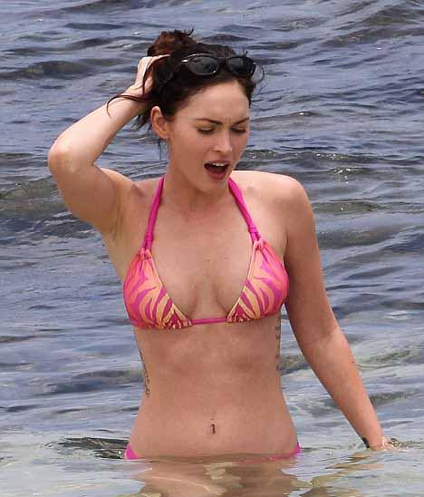 Megan Fox wearing Pink Bikini