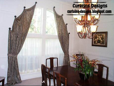 Spanish curved curtains, embossed brown curtains, curtain hooks design, hanging curtains