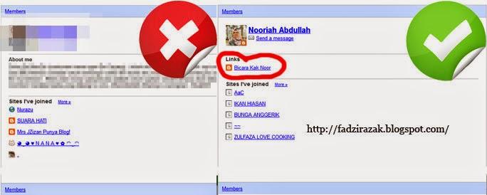 Link dalam Blogger Profile