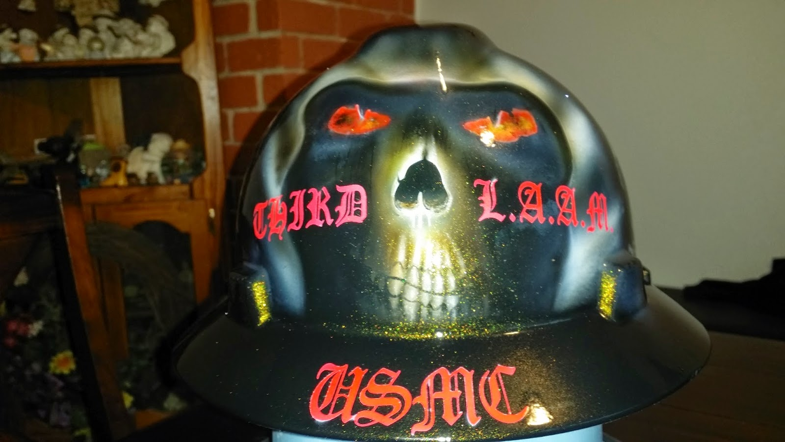 custom painted hard hat with cool reaper skull head