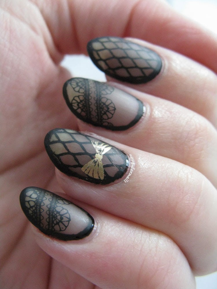 Sheer Black Lace Stamping with Gold Bow and Borders