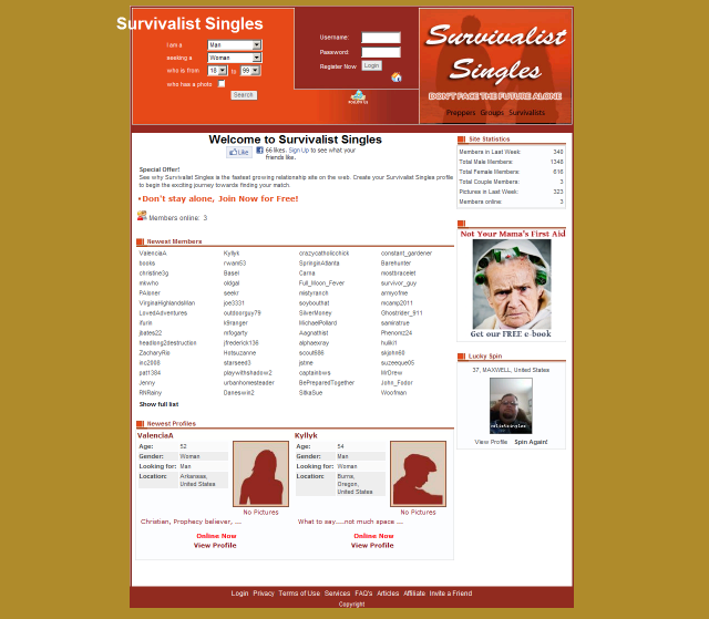 "survival dating site Enter ""prepper/survivalist dating"" from the prweb site this morning: in his ""doomsday dating"" article on cnnmoneycom, blake ellis said, ""canning venison."