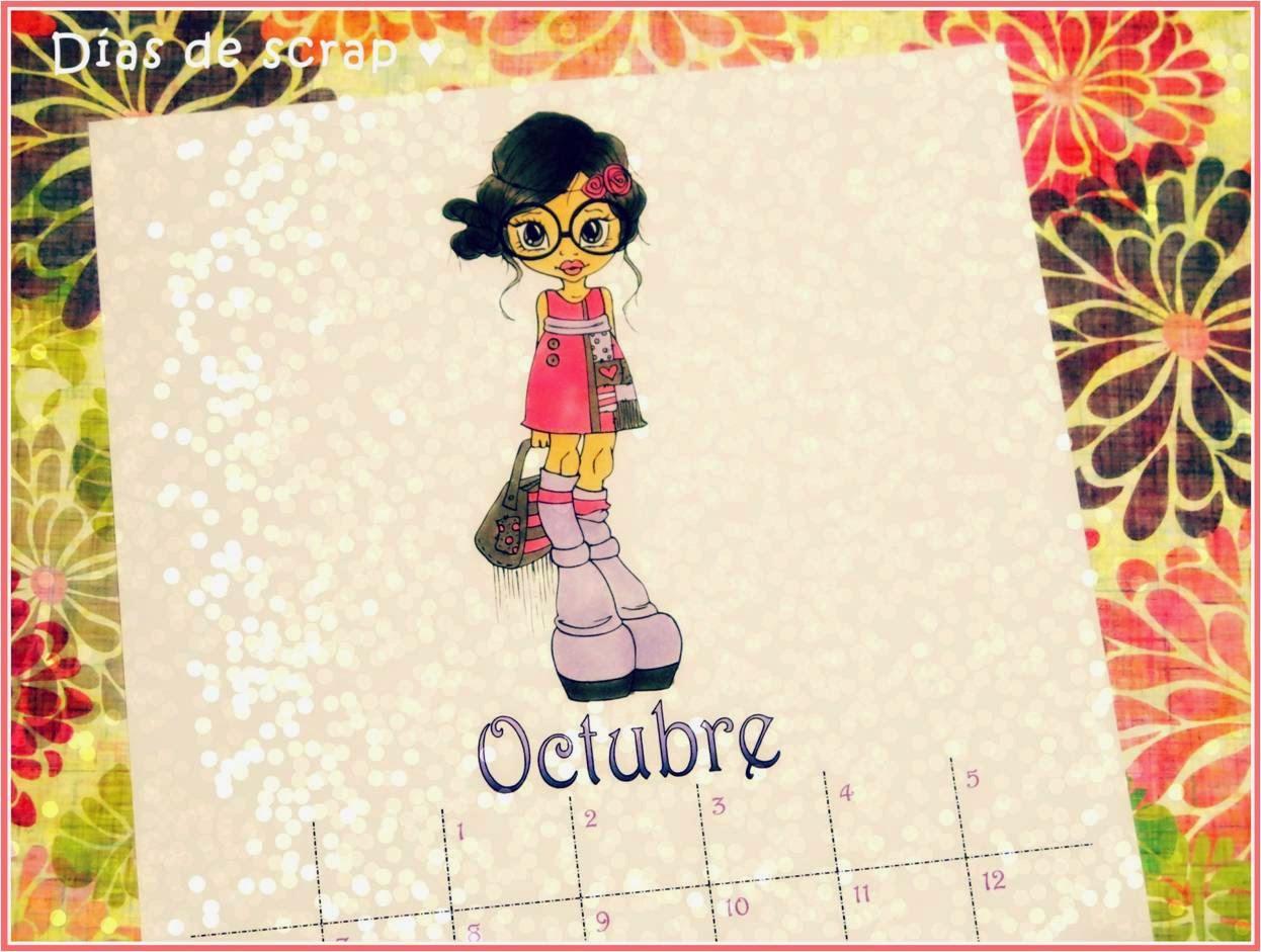 scrap calendario octubre saturated canary violet
