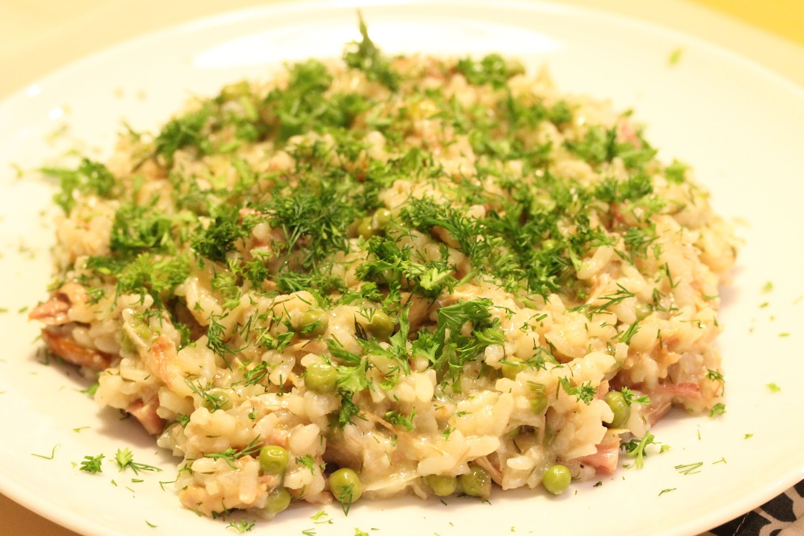 Wine, food and other pleasures: Turkey, pea and ham risotto