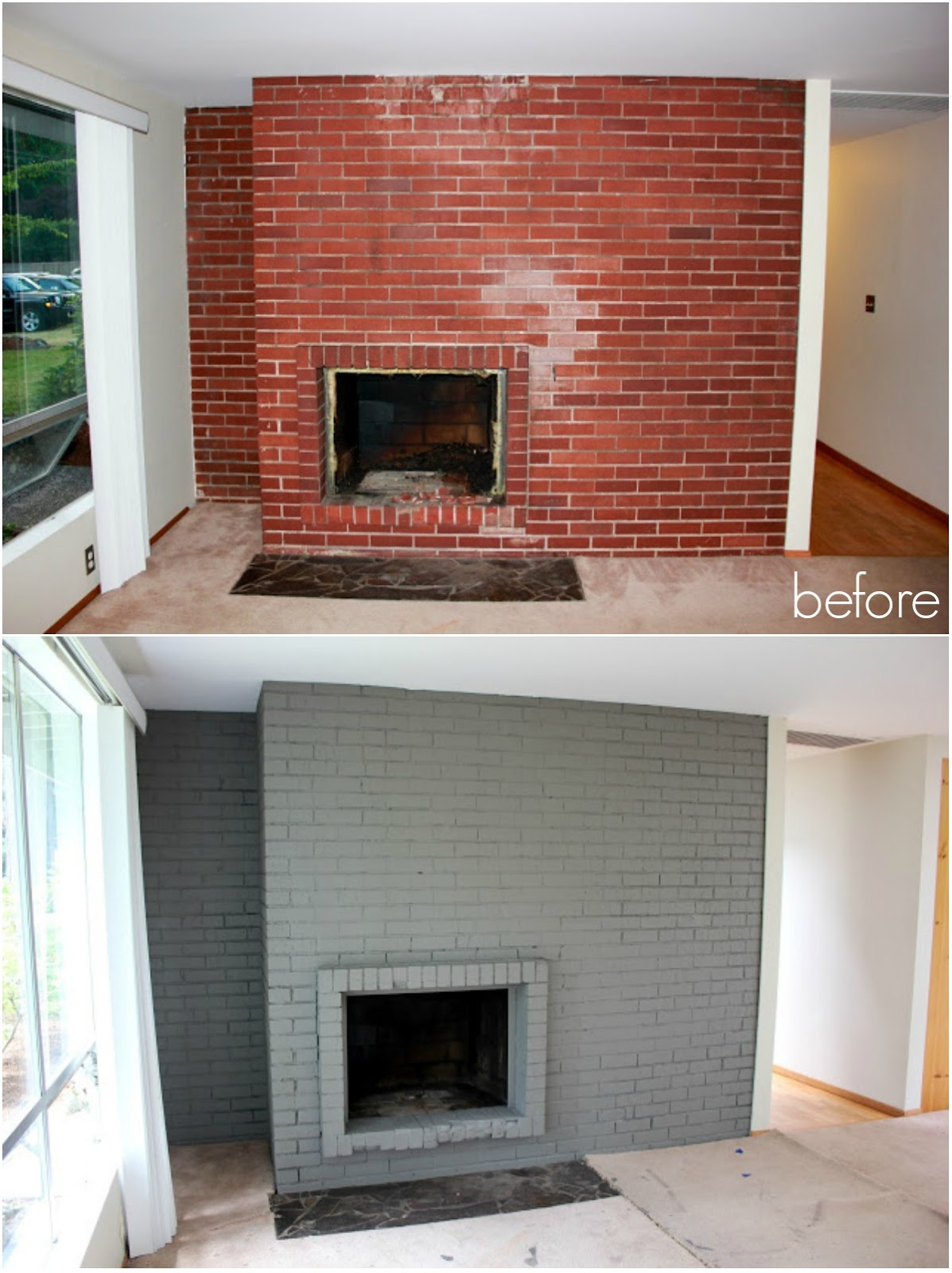 fireplace painted makeover