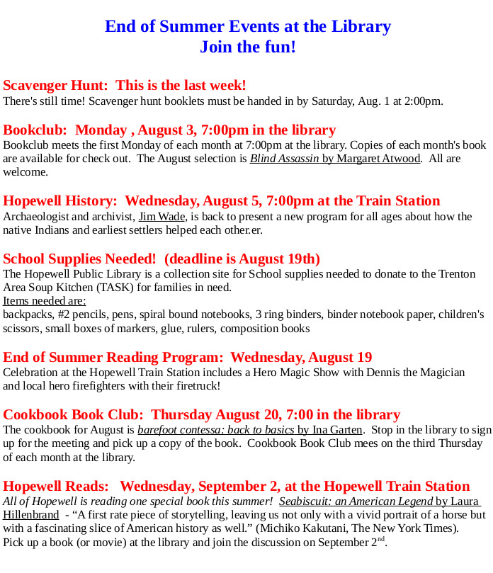HPL End of Summer 2015 Events