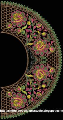 round neckline embroidery