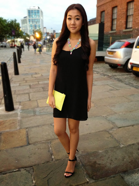 topshop back strap slip dress, whistles neon clutch, Liverpool fashion blog