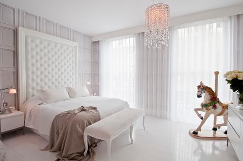 ديكور غرفة نوم في لندن باضاءة وستائر طراز اسكندنافي - 131